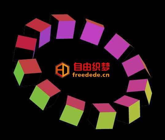 爱上源码网文章zdog 3D方块环形动画的内容插图