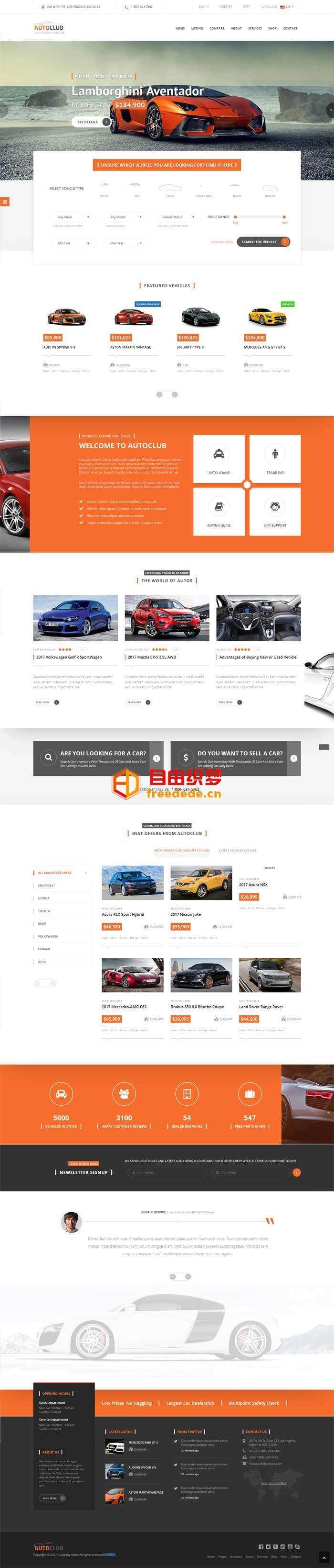 爱上源码网文章橙色大气的4S店汽车销售网站模板html整站的内容插图