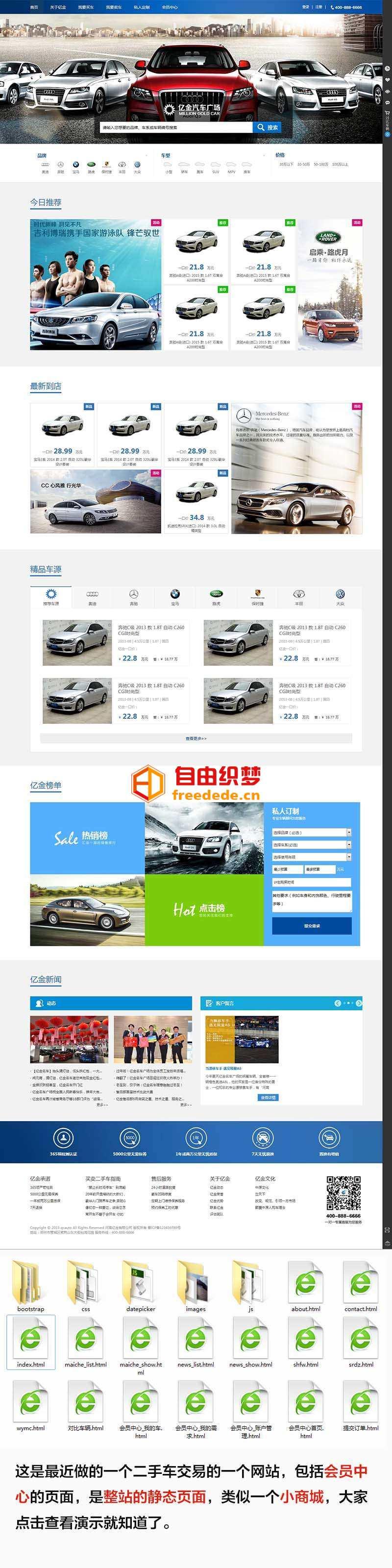 爱上源码网文章蓝色的二手汽车交易网站模板html整站的内容插图