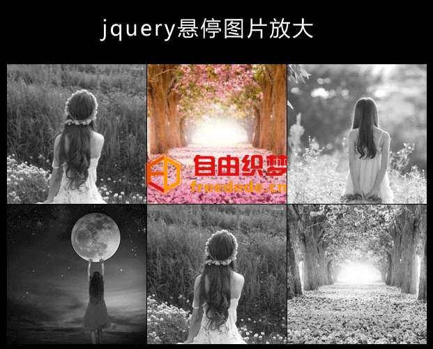 爱上源码网文章jQuery鼠标悬停图片变色放大显示效果的内容插图