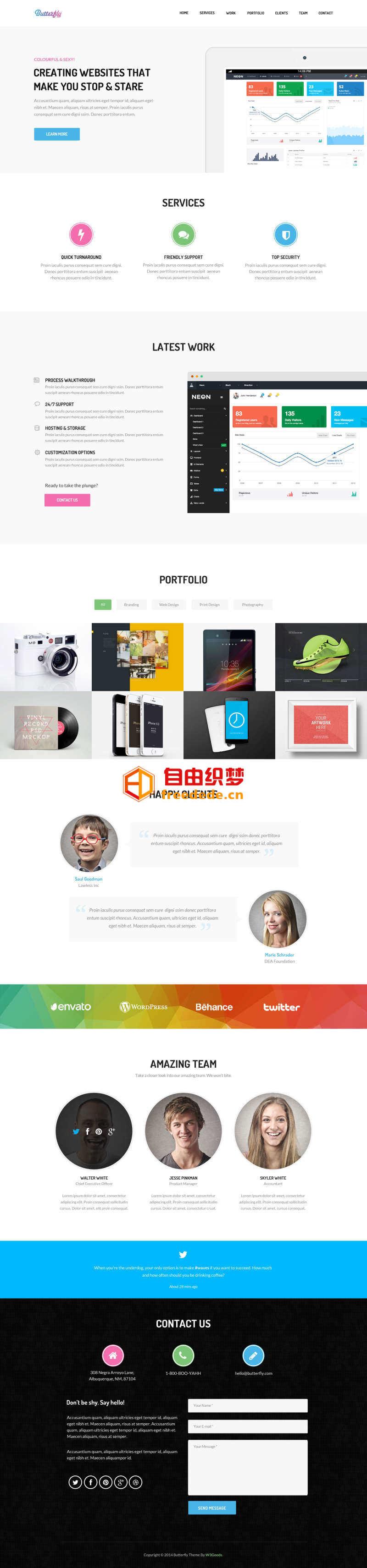 爱上源码网文章html5网络设计公司作品展示单页模板的内容插图