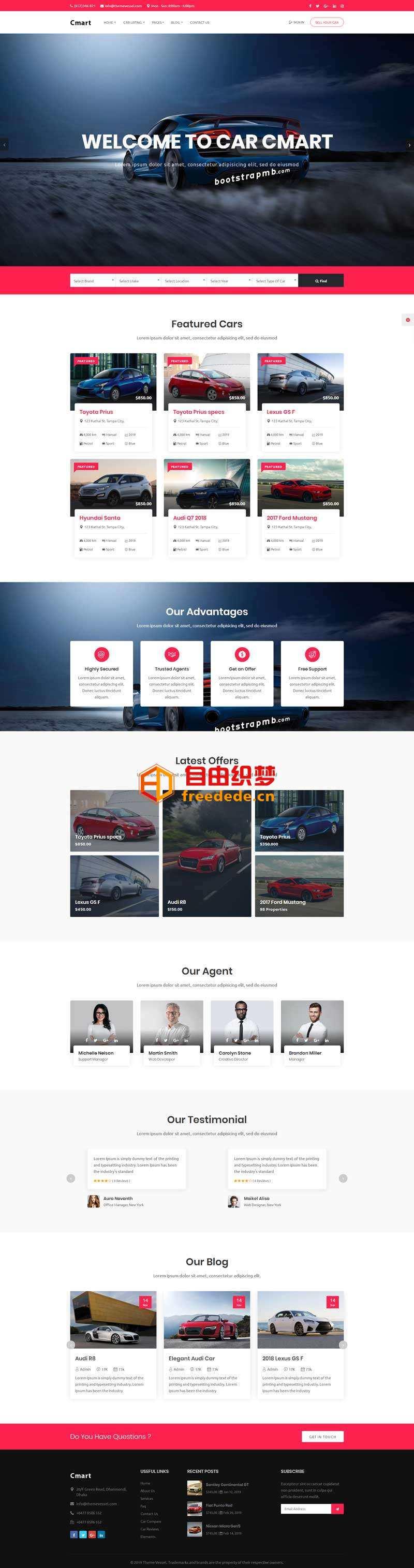 爱上源码网文章大气的汽车租赁服务平台网页模板的内容插图