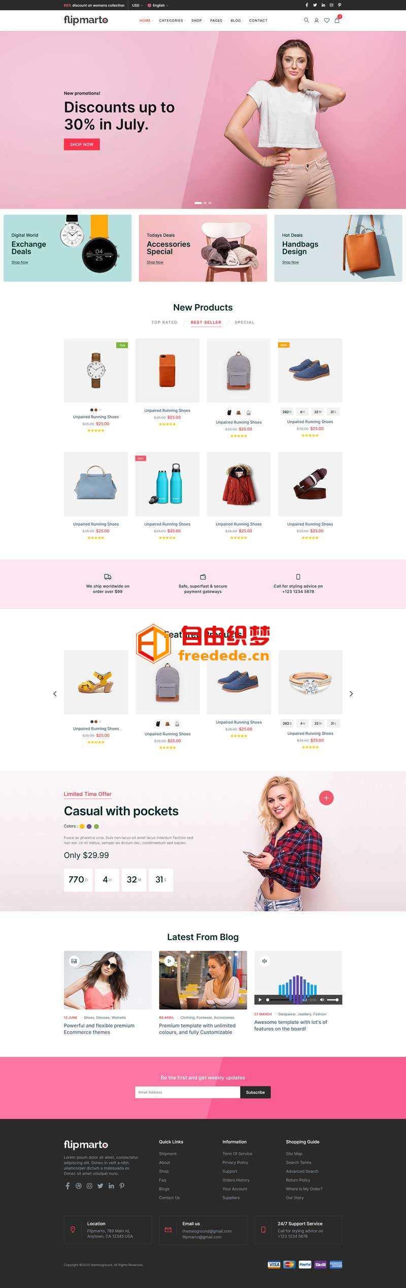 爱上源码网文章多用途的时尚购物商城bootstrap模板的内容插图