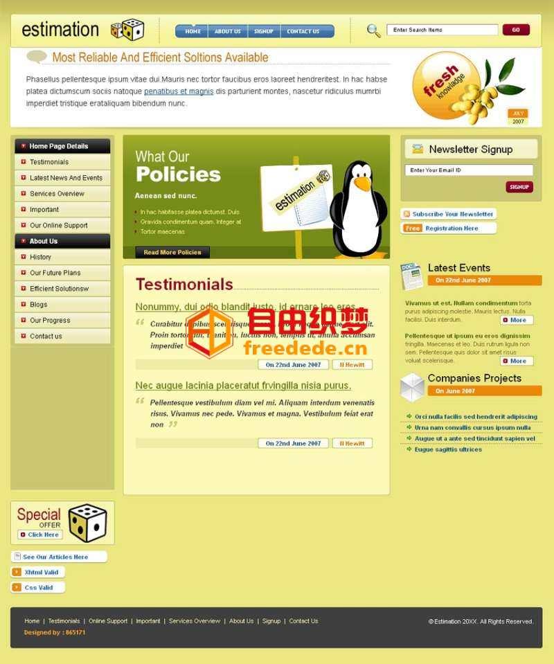 爱上源码网文章黄色简洁的个人博客网站模板html源码下载的内容插图