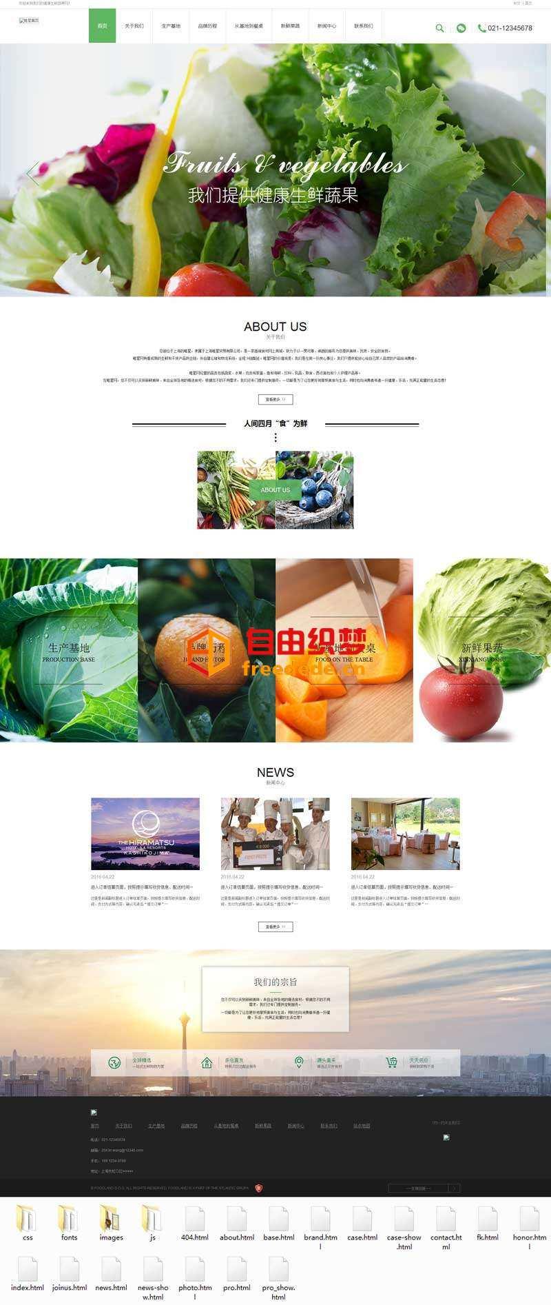 爱上源码网文章绿色清新的蔬菜水果生产类响应式网站模板的内容插图