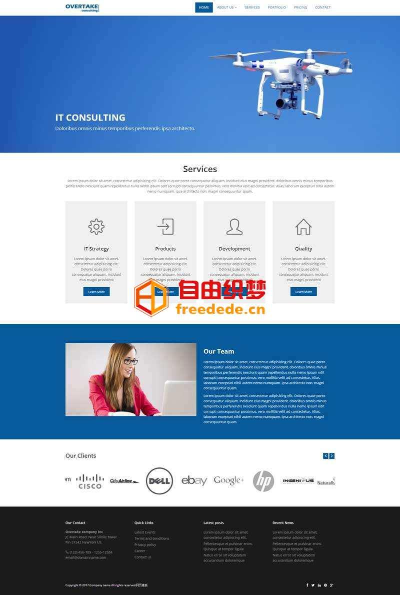 爱上源码网文章蓝色简单的无人机公司网站html模板的内容插图