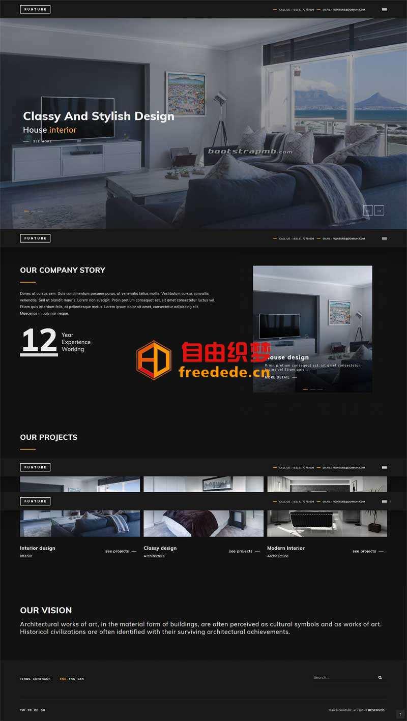 爱上源码网文章黑色的装修设计公司Bootstrap网站模板的内容插图