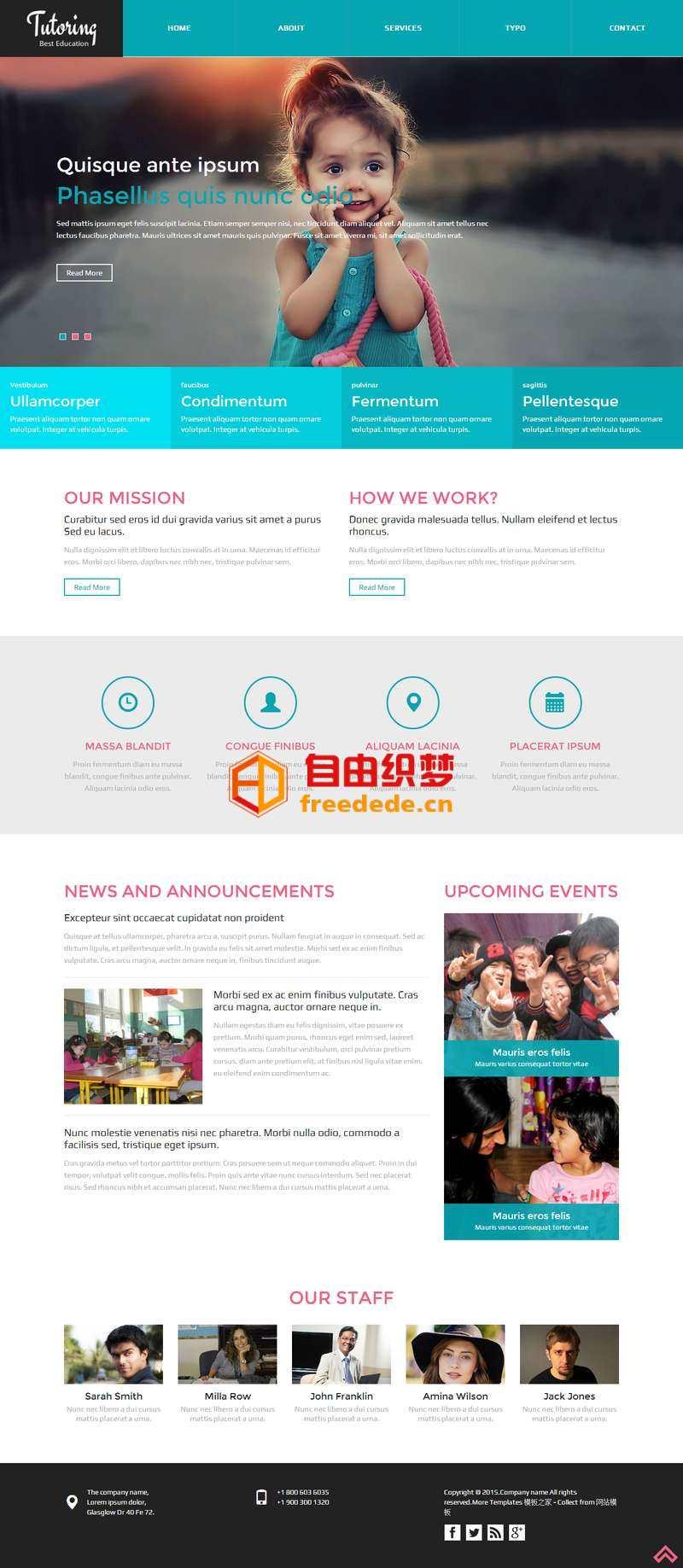 爱上源码网文章蓝色宽屏的小学生教育机构网站模板下载的内容插图