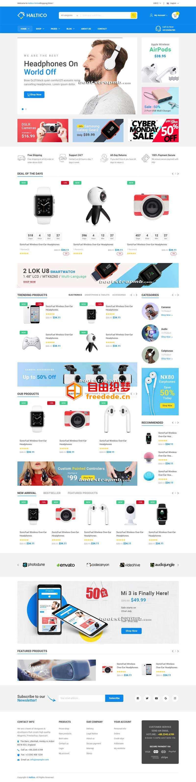 爱上源码网文章蓝色大型的数码产品商城模板的内容插图
