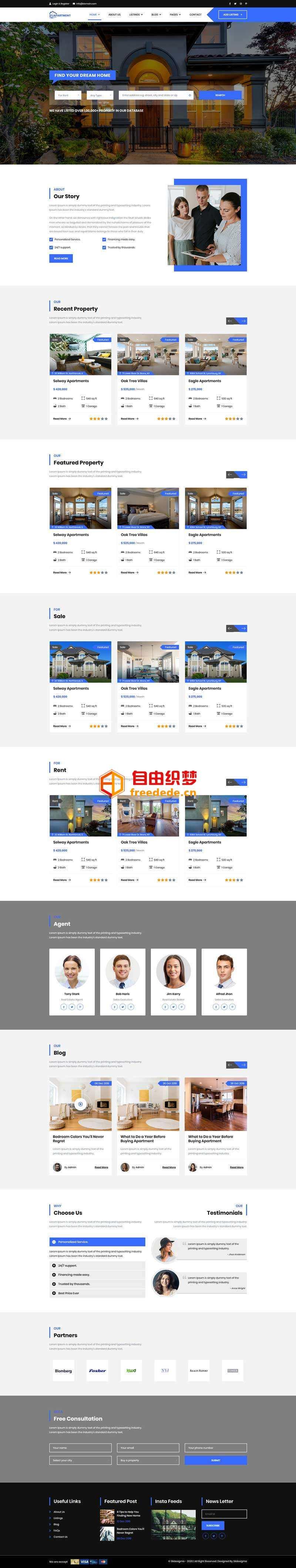 爱上源码网文章大气的房产租赁交易平台网站模板的内容插图