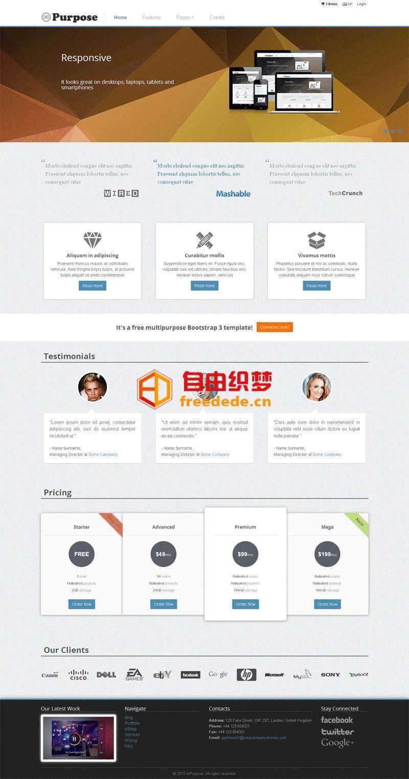 爱上源码网文章简洁的广告公司Bootstrap响应式企业站模板的内容插图