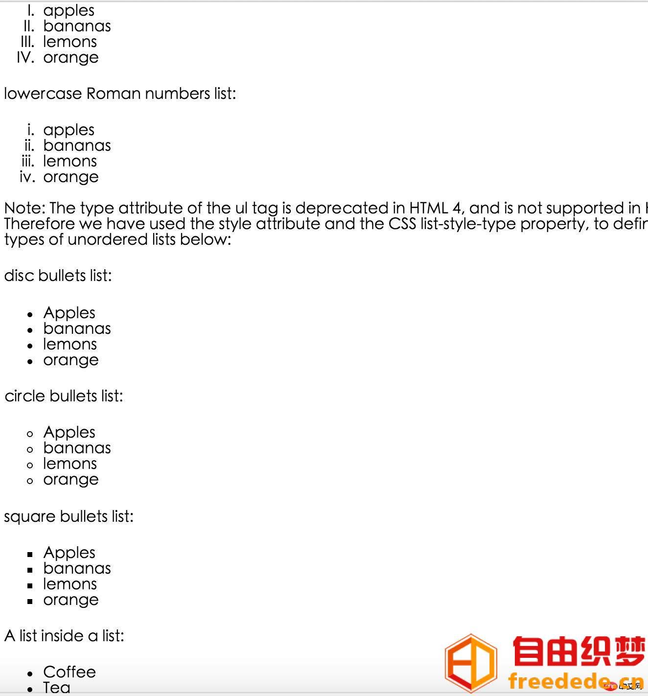 爱上源码网文章HTML学习之html列表介绍(代码实例)的内容插图
