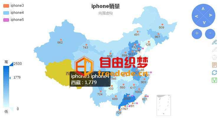 爱上源码网文章html5 echarts中国地图网络销售分布图表代码的内容插图