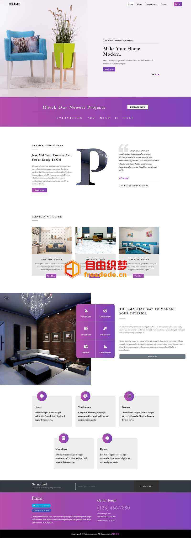爱上源码网文章紫色的家居装饰公司网站html模板的内容插图